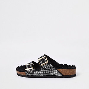 Black embellished fleece footbed sandals