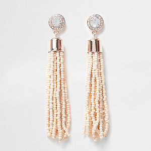Nude seedbead tassel drop stud earrings