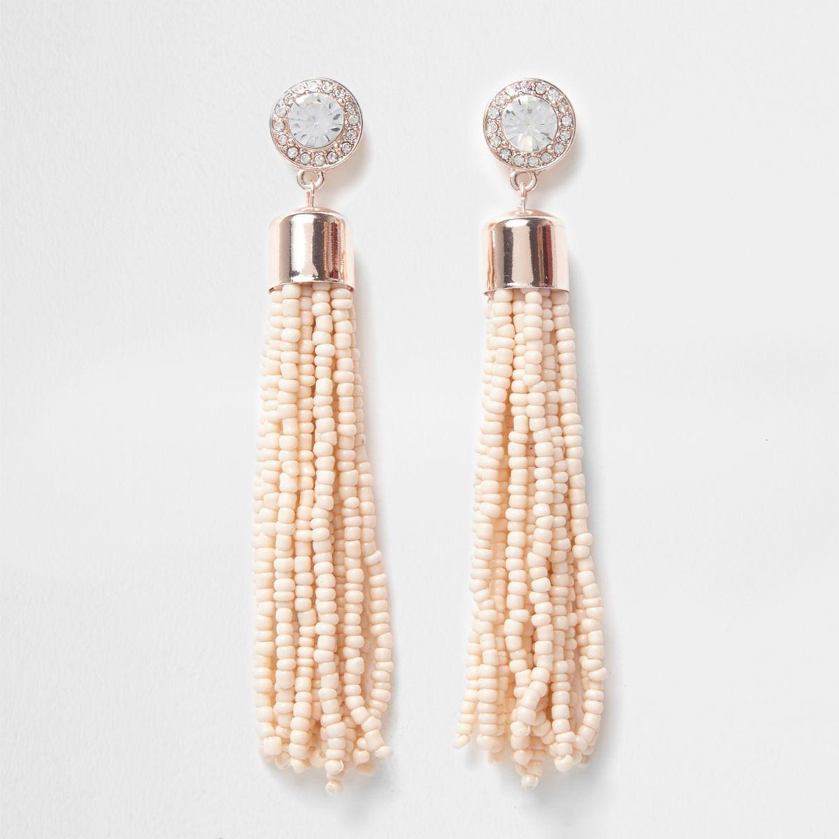 Nude seedbead tassel drop stud earrings