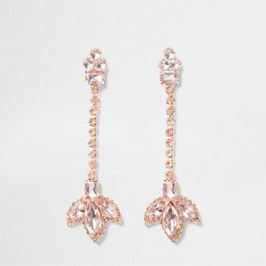 Pendants d'oreilles or rose à chaînes motif feuille