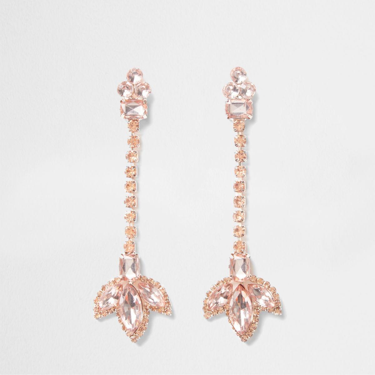 Rose gold tone cup chain leaf drop earrings