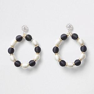 Black mono bead rhinestone hoop drop earrings