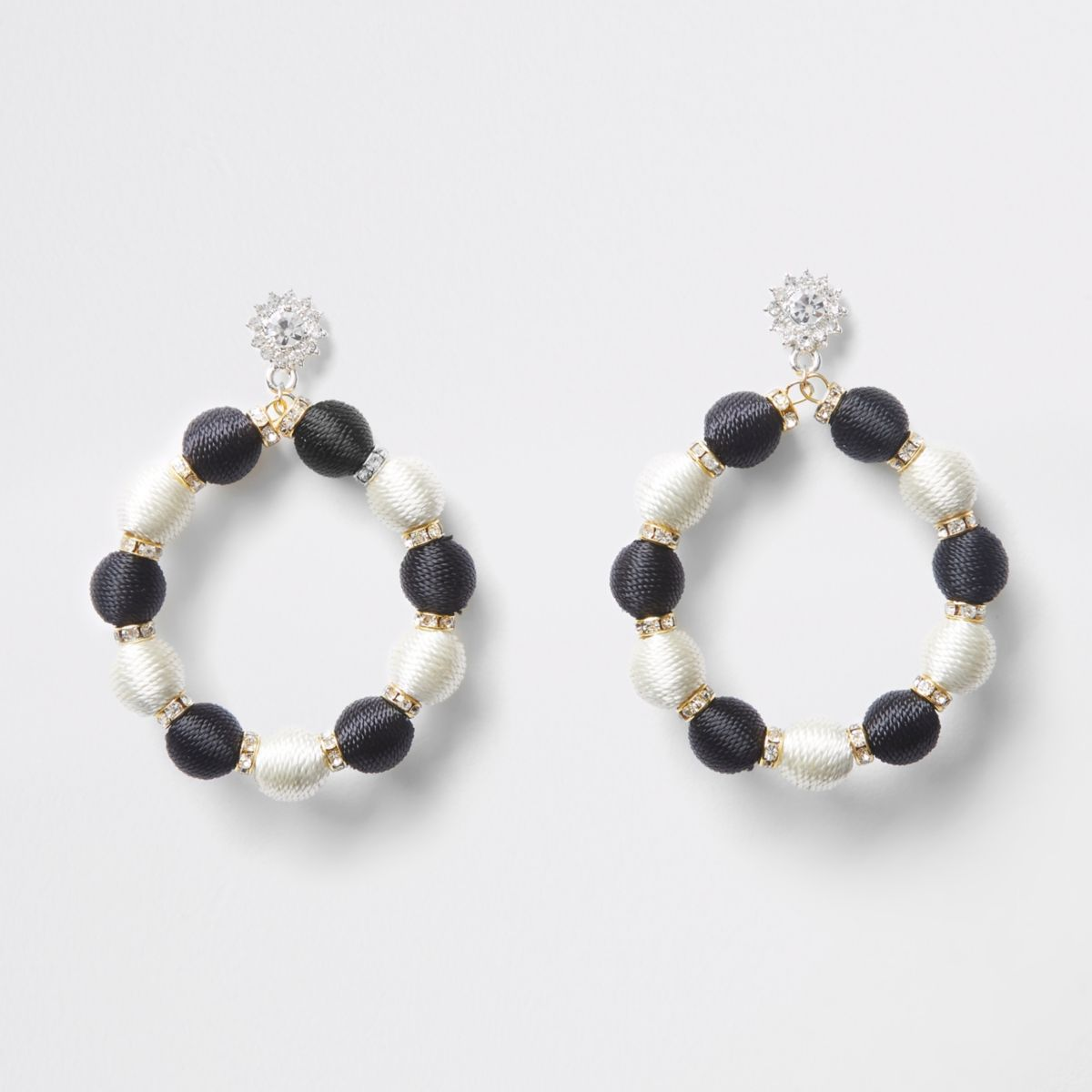 Black mono bead rhinestone hoop drop earrings