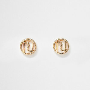 Gold tone RI stud earrings