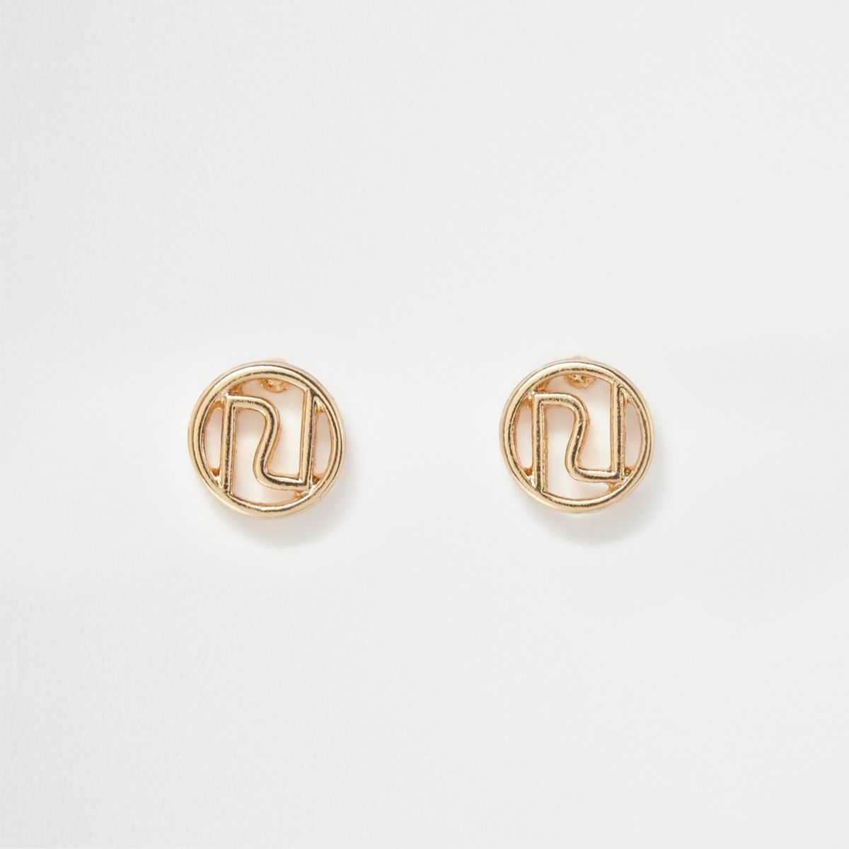 Gold tone RI stud earrings