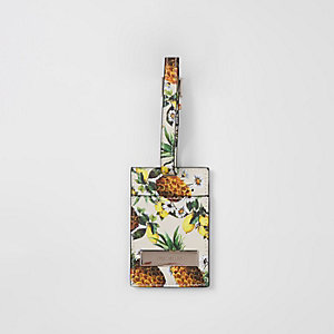 Cream Caroline Flack pineapple luggage tag