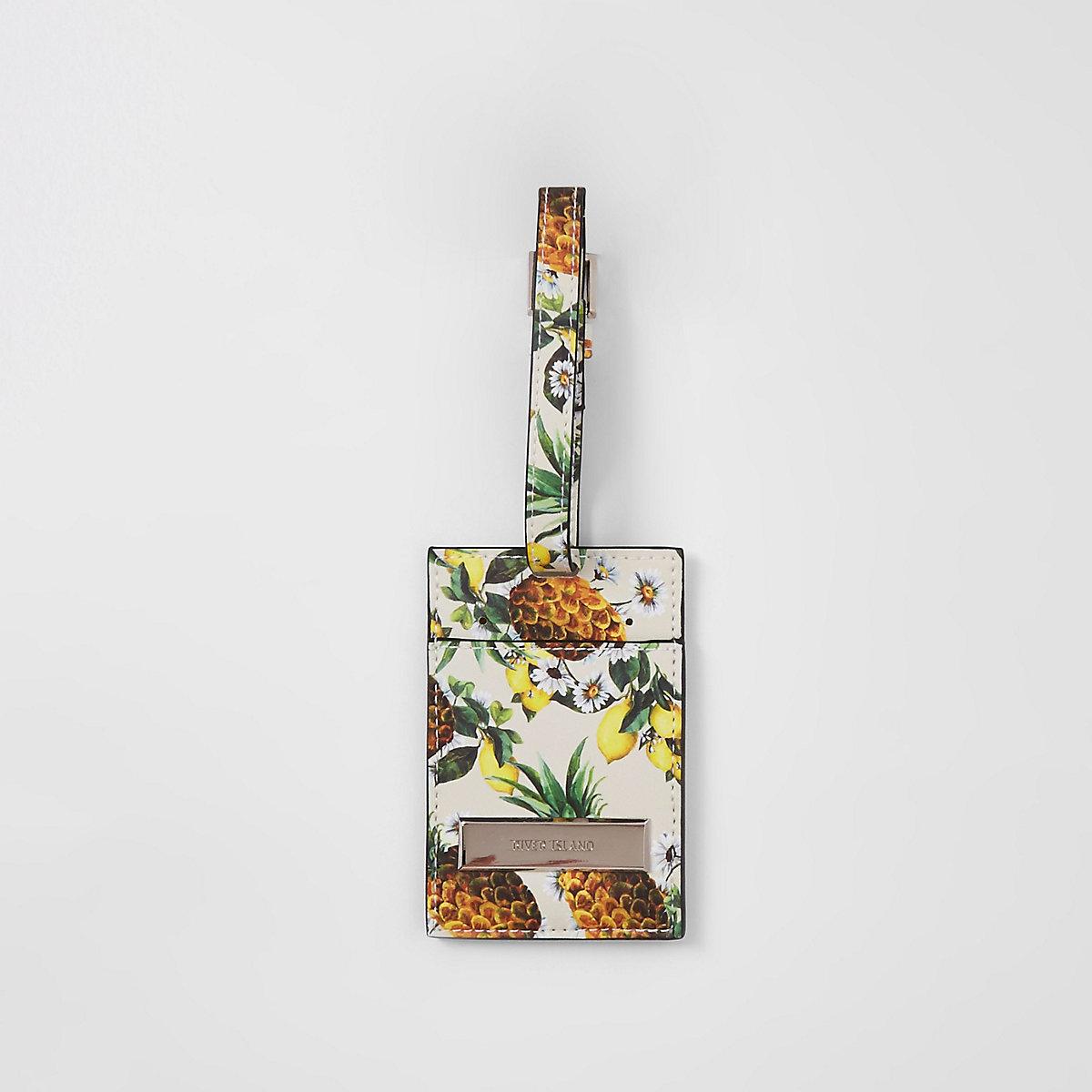 Cream Caroline Flack pineapple luggage tag