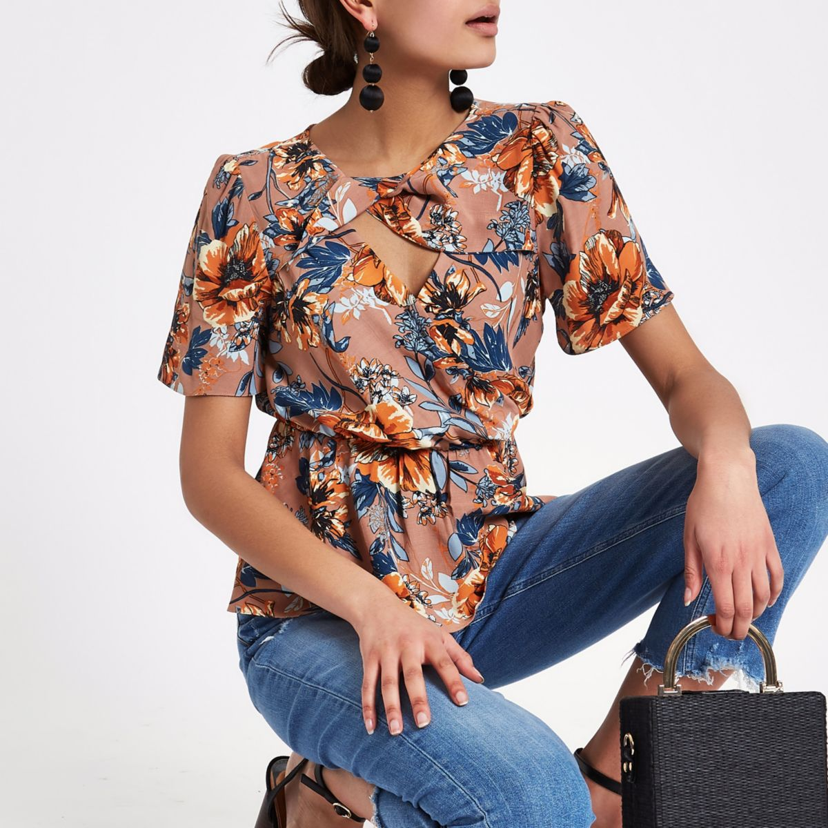 Brown floral print twist top