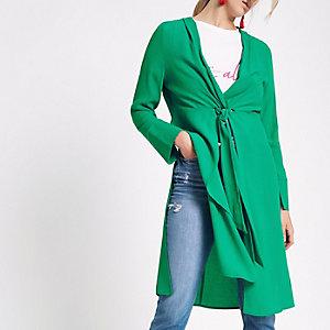 Green twist front side split kimono top
