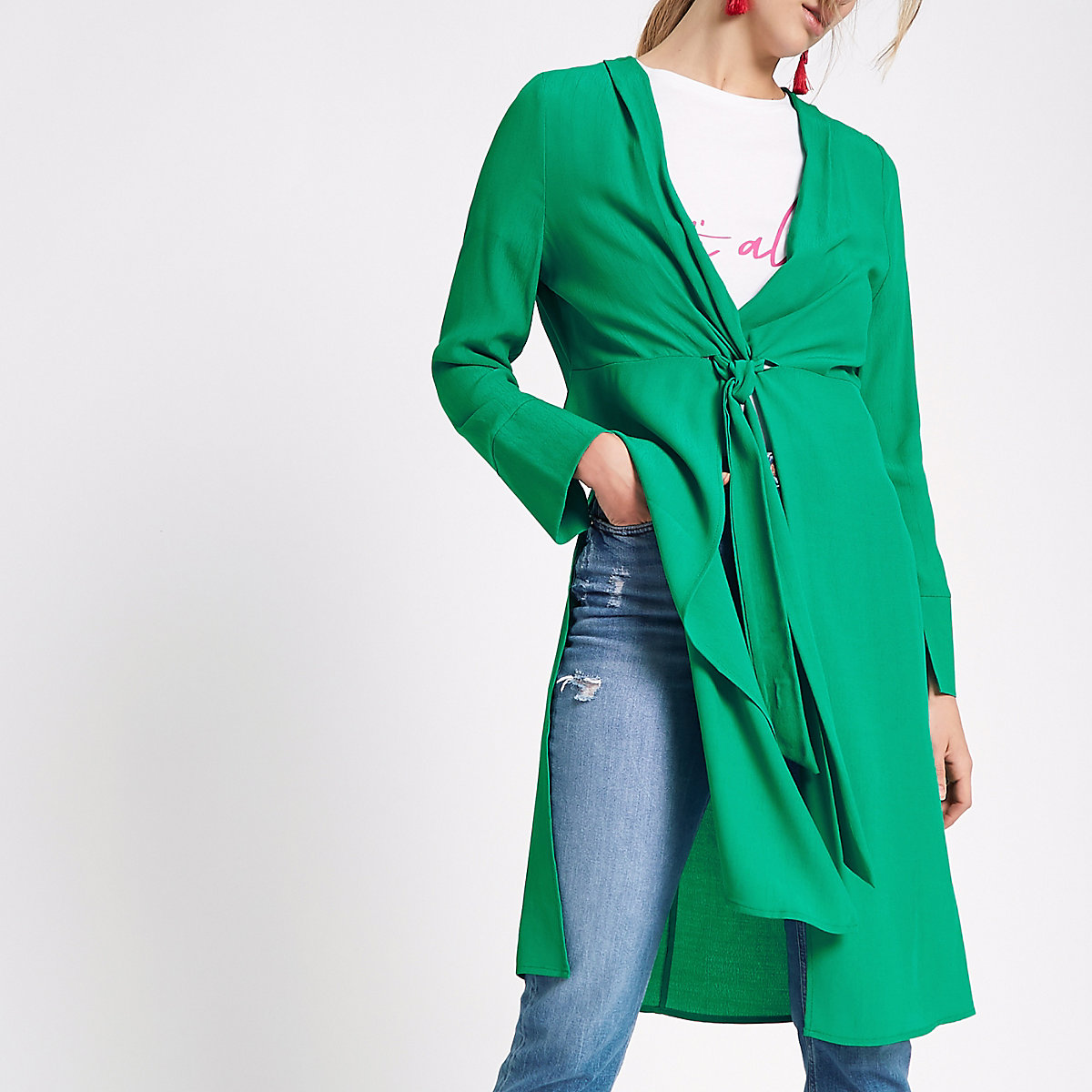 Green twist front side split kimono top