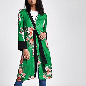 Groene gebloemde kimono met gedraaide voorzijde
