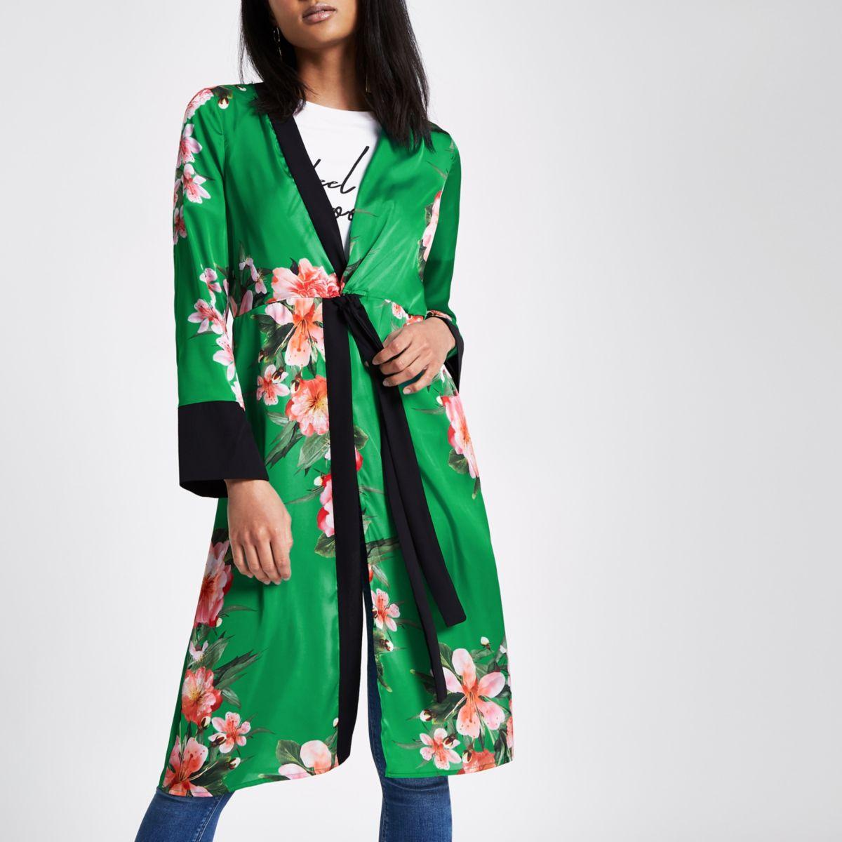 Green floral print twist front kimono