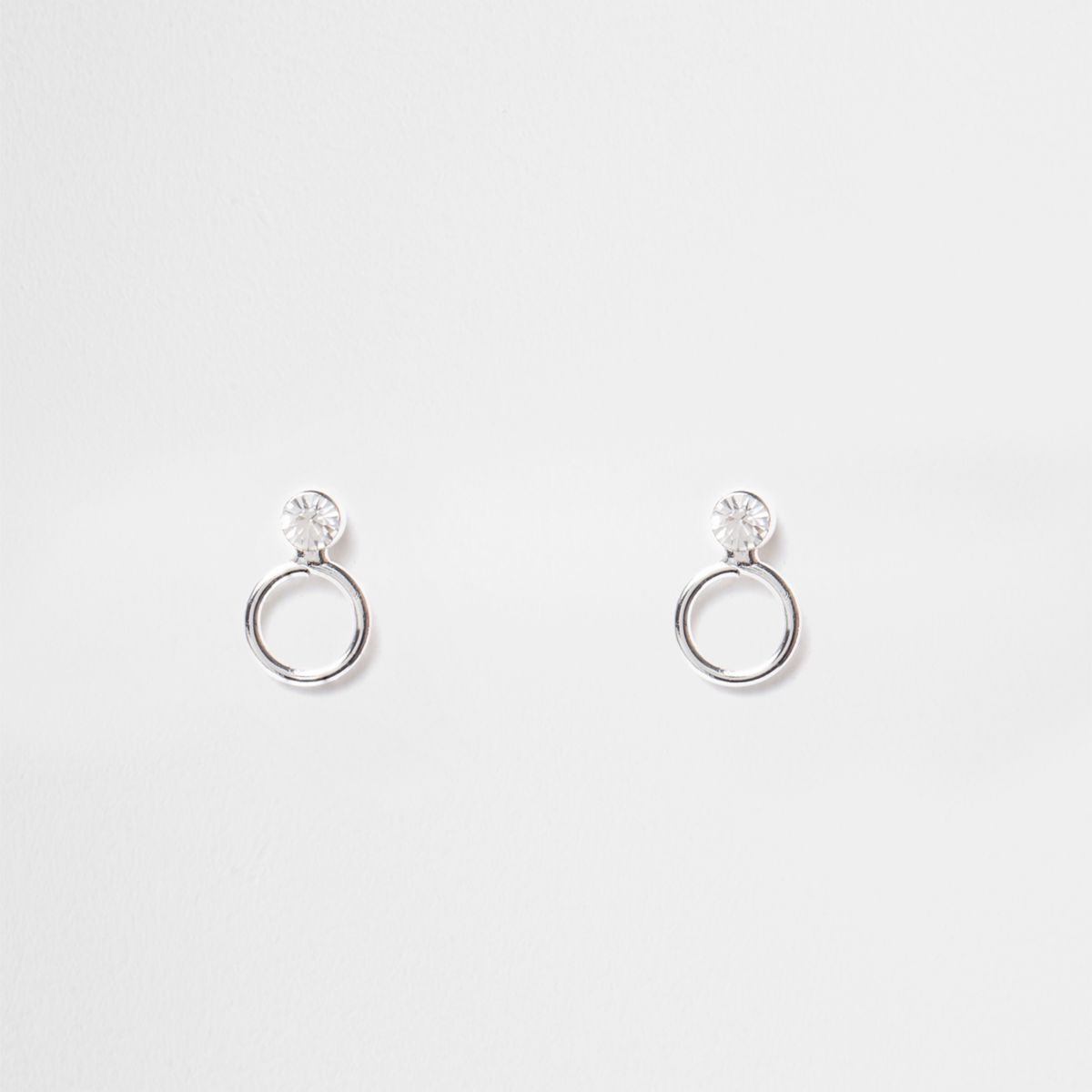 Silver tone diamante circle stud earrings