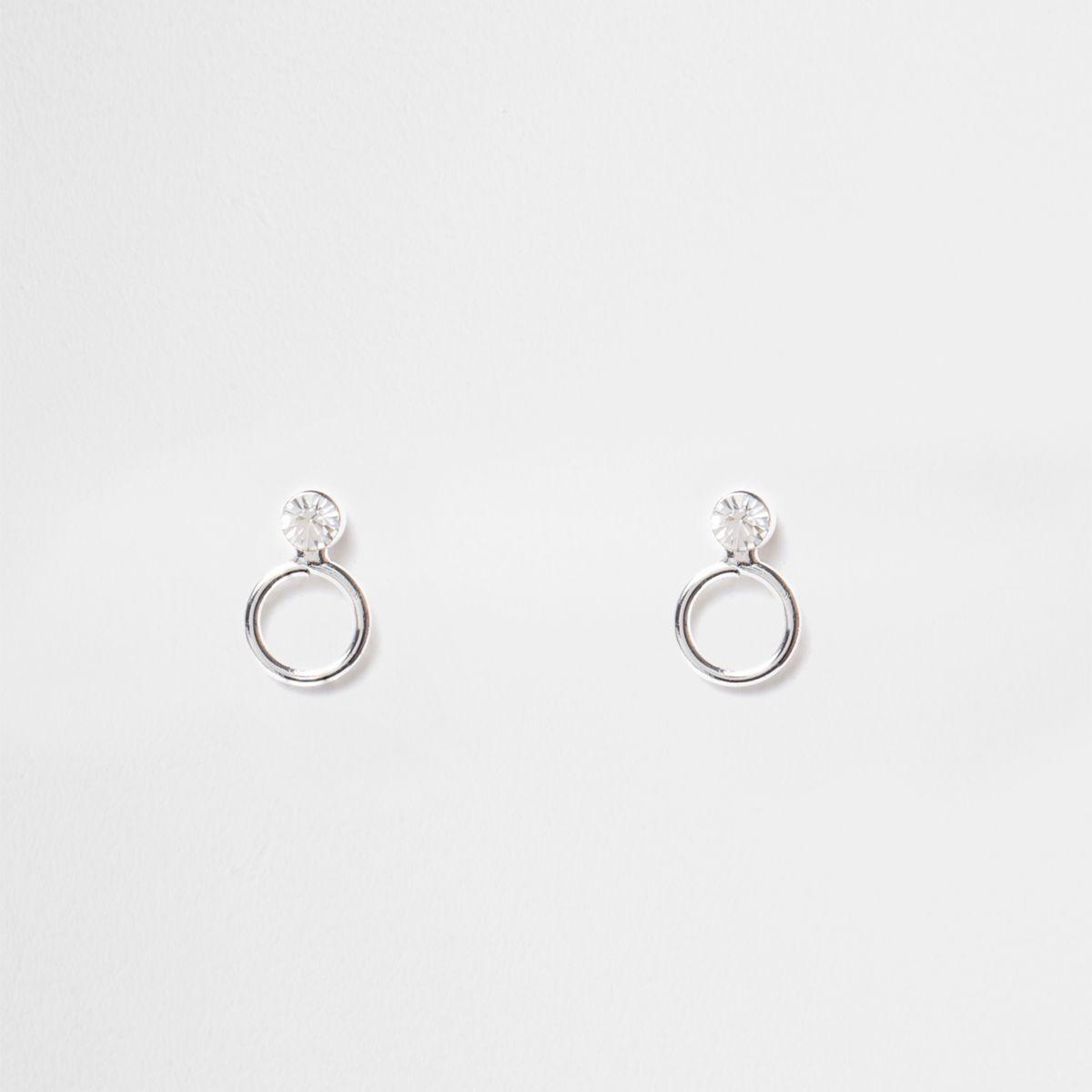 Silver tone rhinestone circle stud earrings