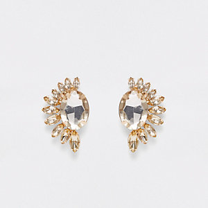 Gold tone crescent stone stud earrings