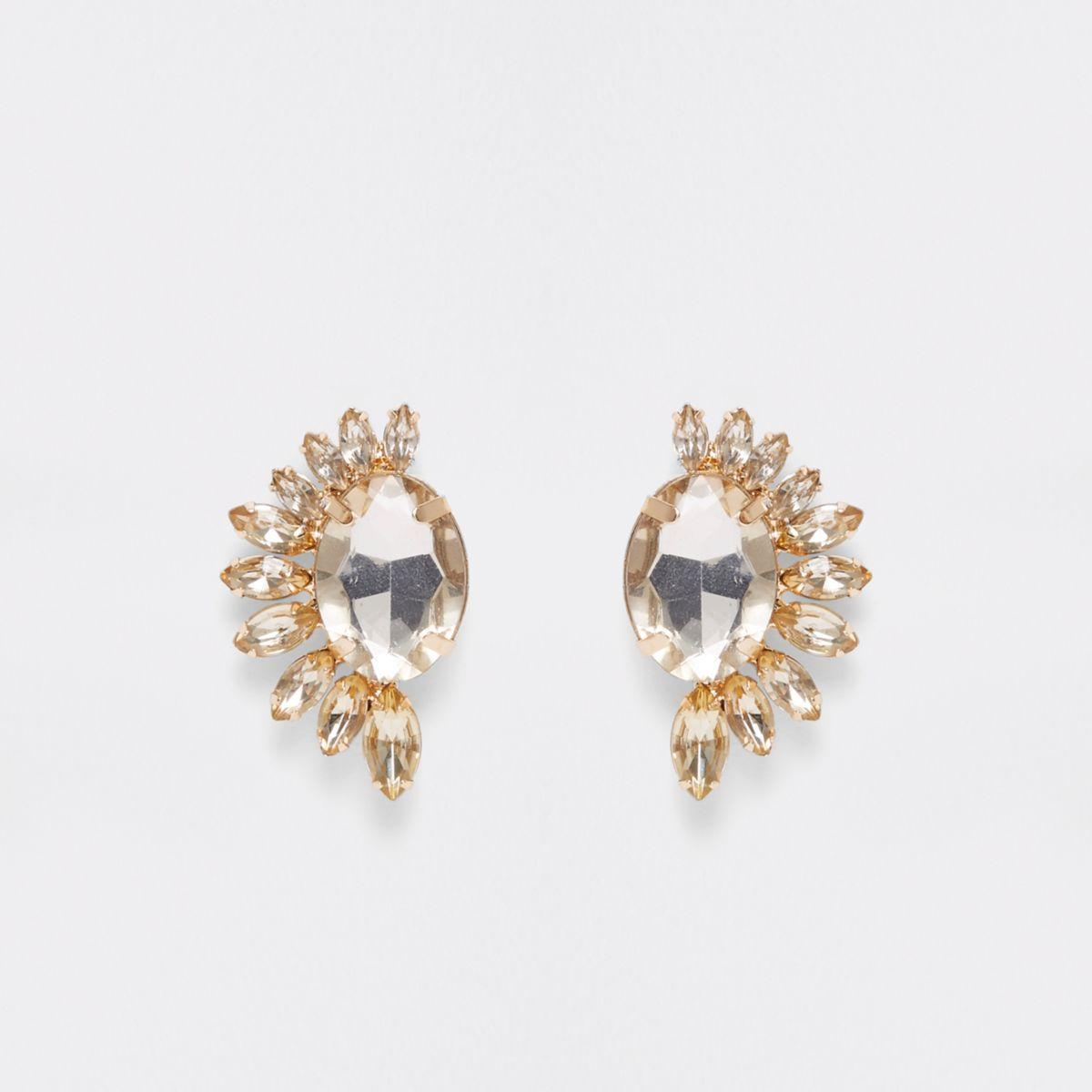 Gold tone crescent stone stud earrings
