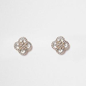 Gold tone rhinestone quatrefoil earrings