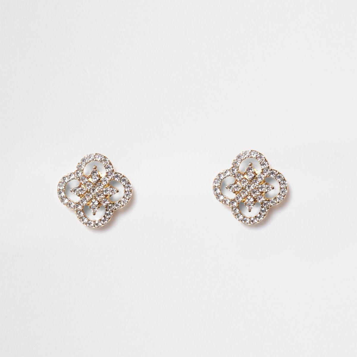 Gold tone diamante quatrefoil earrings