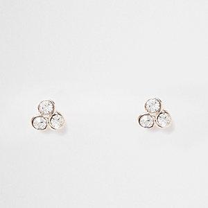 Rose gold tone triple rhinestone stud earrings