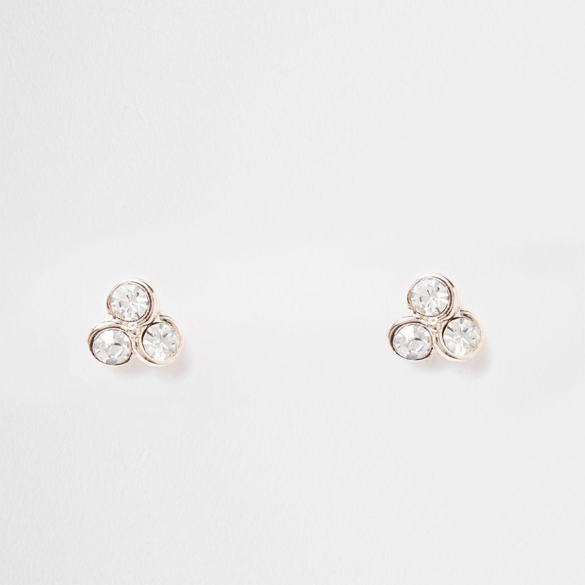Rose gold tone triple diamante stud earrings