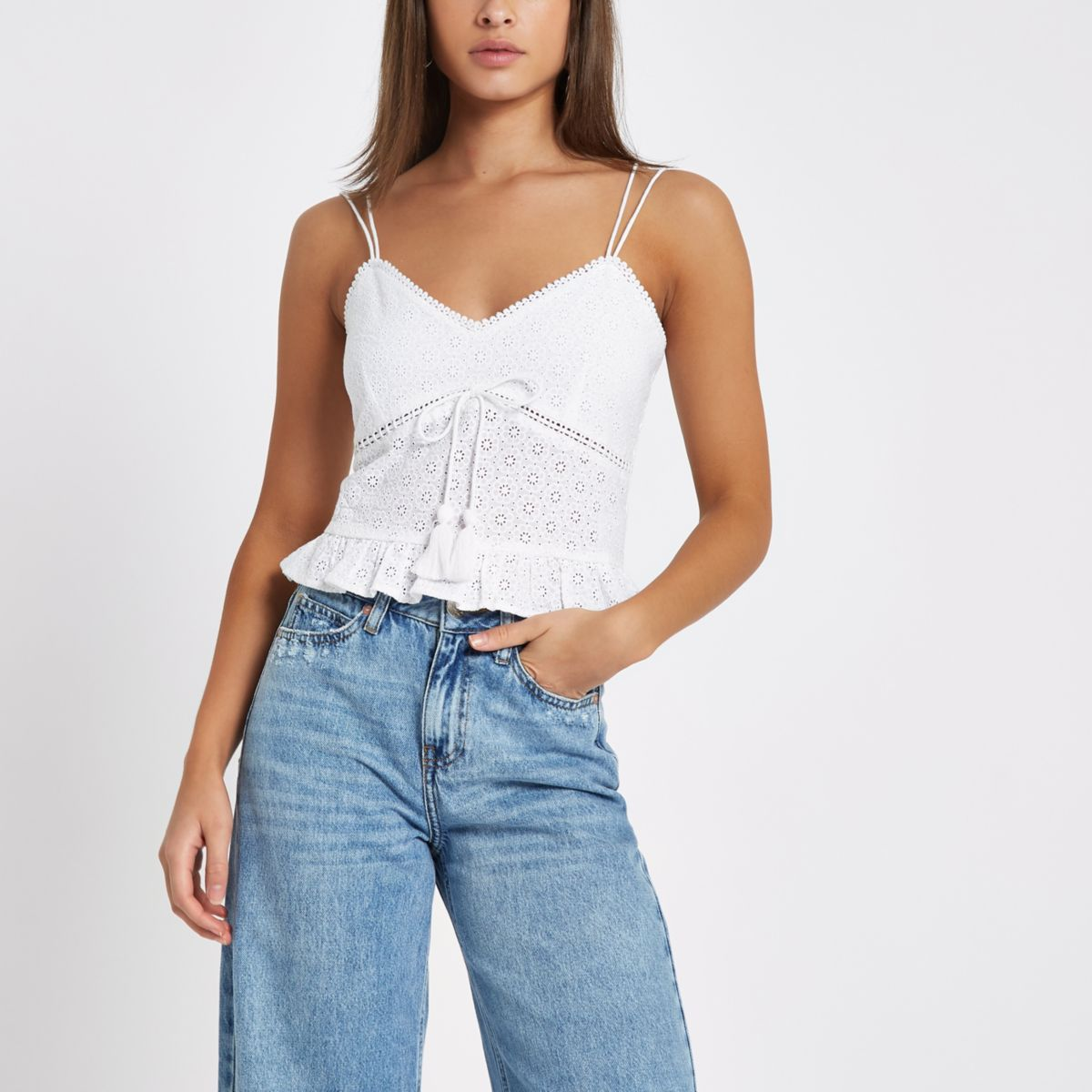 White floral embroidered cami top