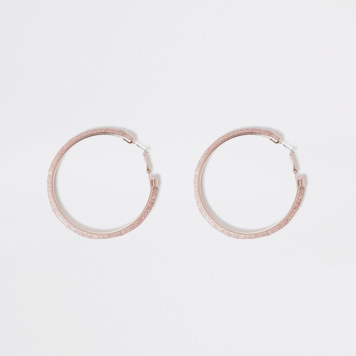 Rose gold tone mesh medium hoop earrings