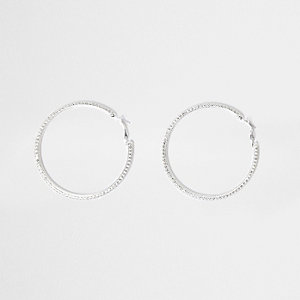 Silver tone rhinestone cup chain hoop earrings