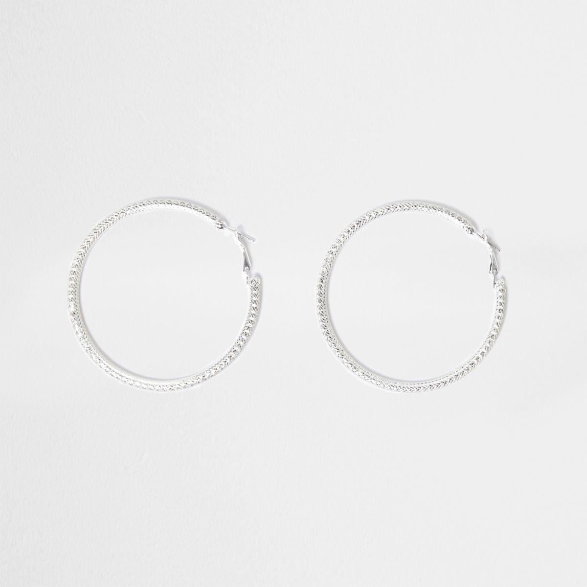 Silver tone rhinestone cup chain hoop earrings