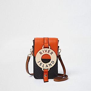 Mini sac bandoulière orange tissé avec anneau devant