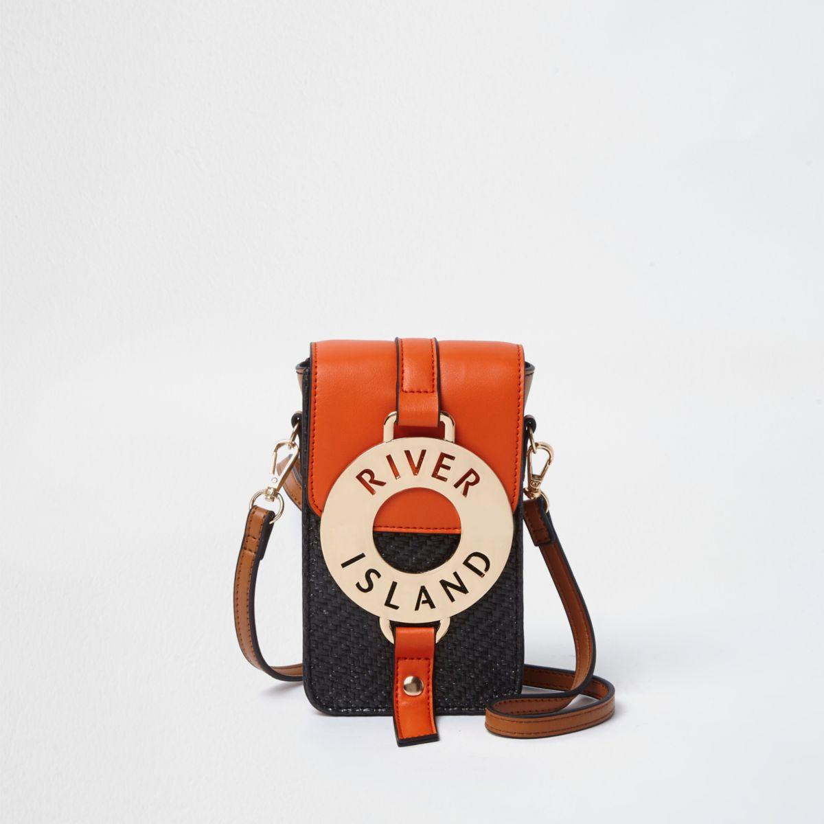 Orange woven hoop front mini cross body bag