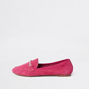 Womens Pink wide fit suede snaffle loafers River Island