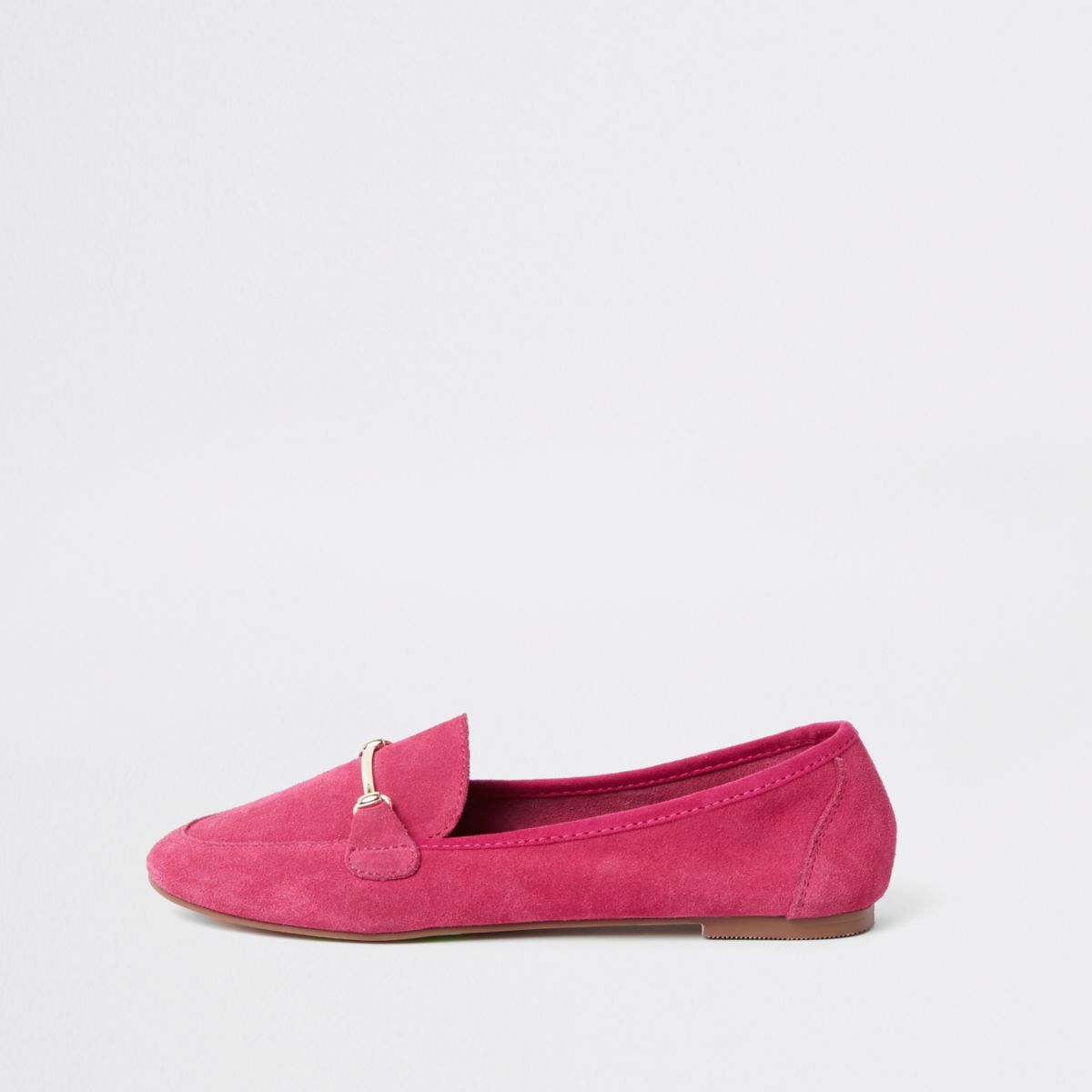 Pink suede snaffle detail loafer