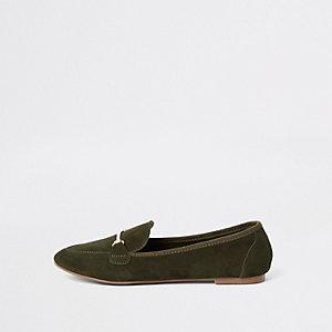 Groene suède loafers