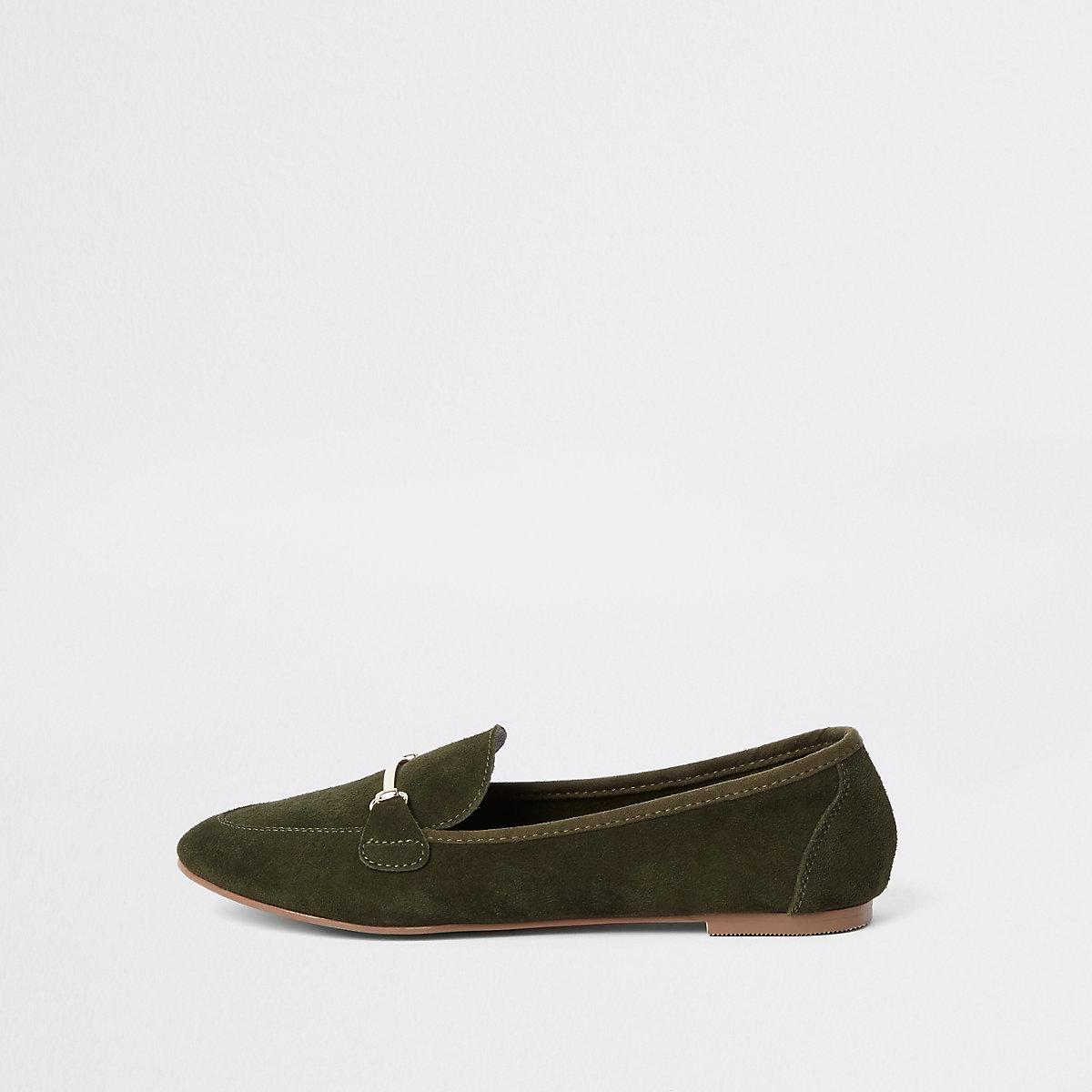 Green suede snaffle detail loafers