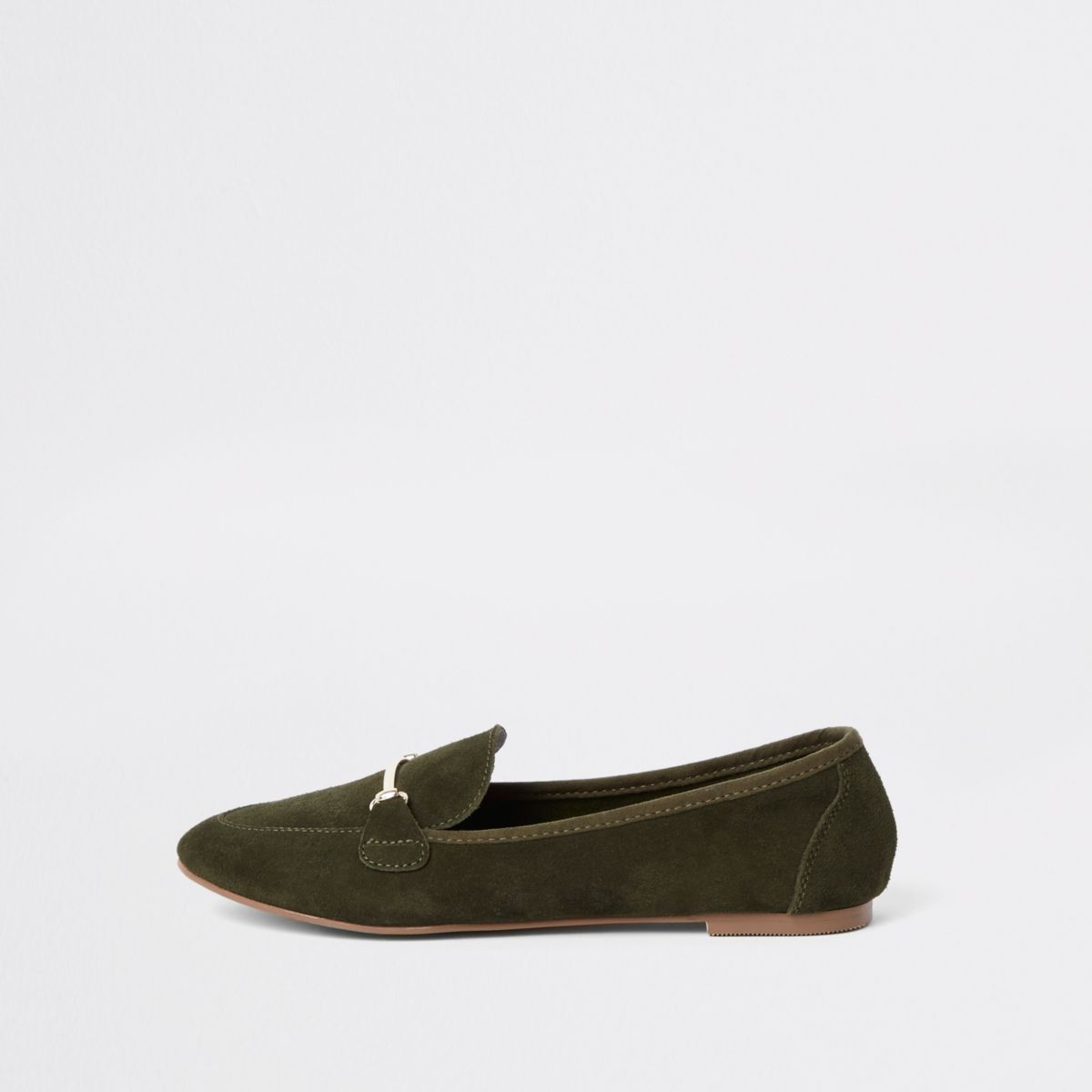 Green suede snaffle detail loafer
