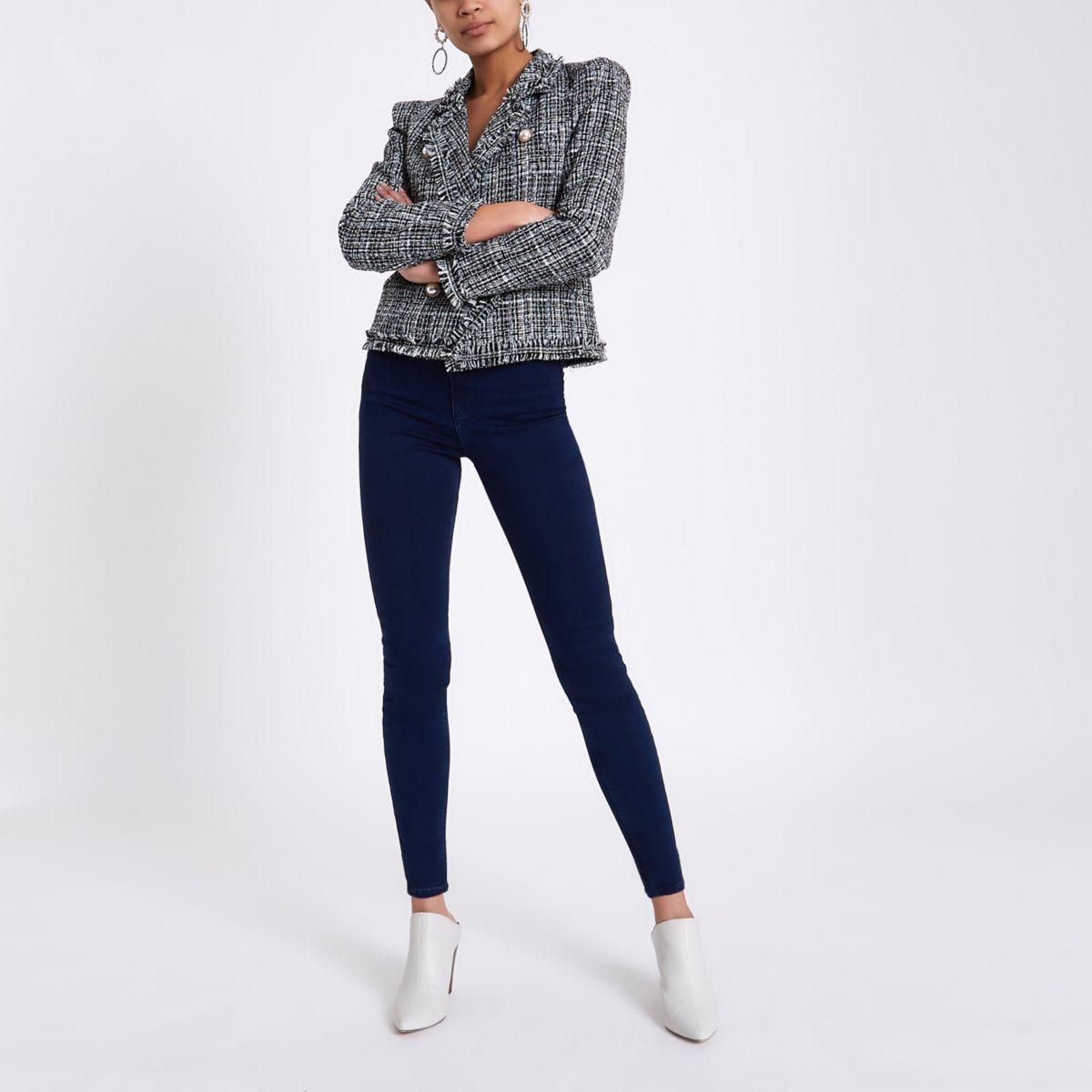 Harper - Donkerblauwe jeans met hoge taille