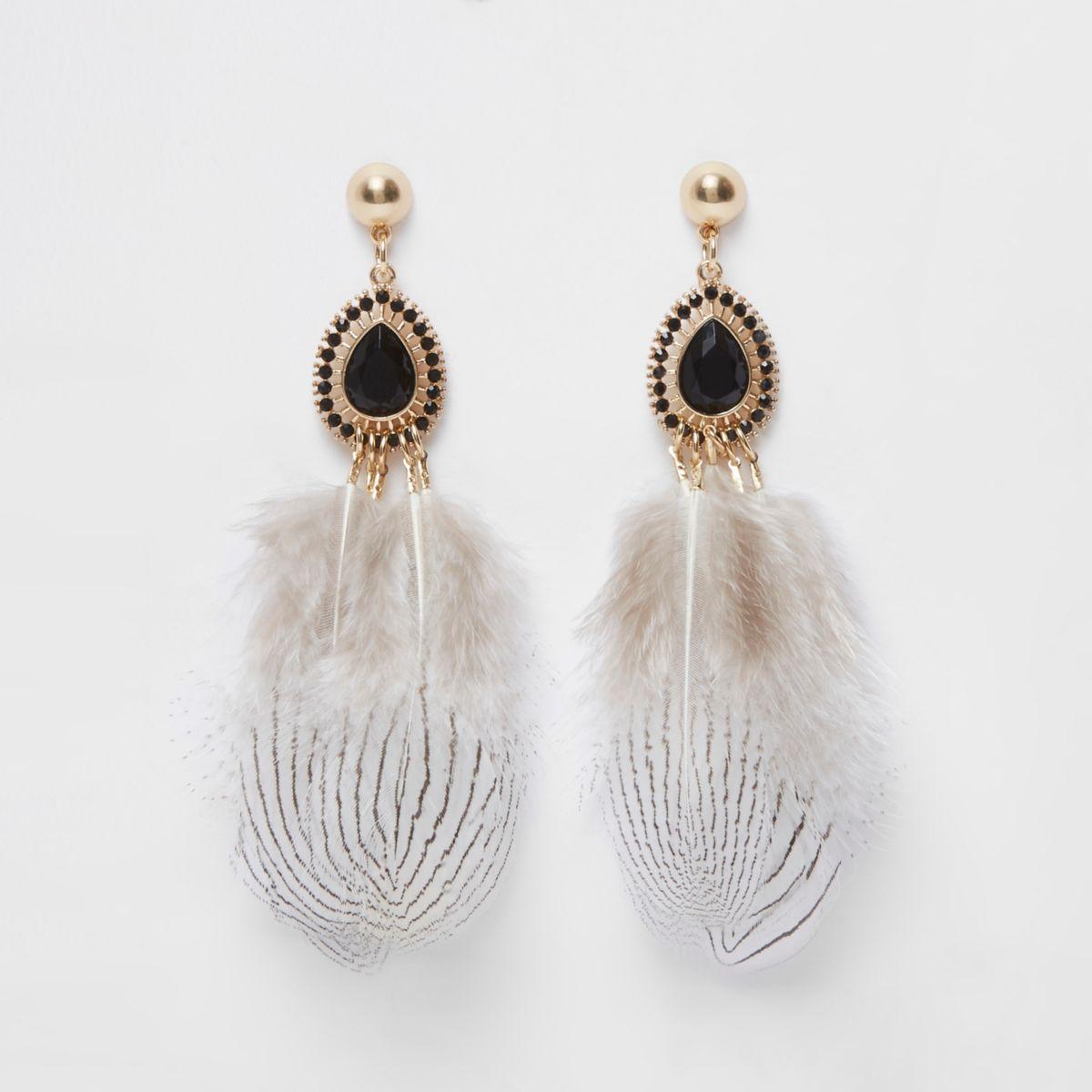 Black feather jewel drop earrings