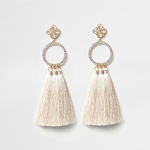 Gold tone diamante hoop tassel earrings