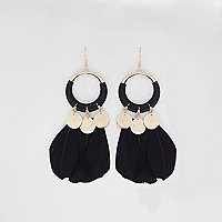 Black hoop feather drop earrings