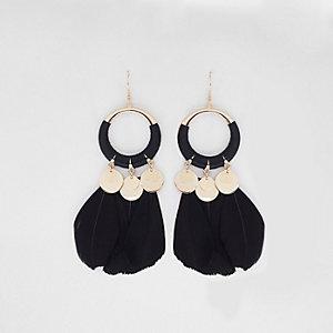 Black hoop feather drop earrings