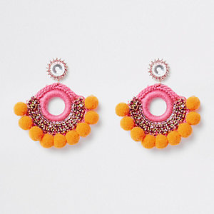 Orange pom pom gold tone stud earrings