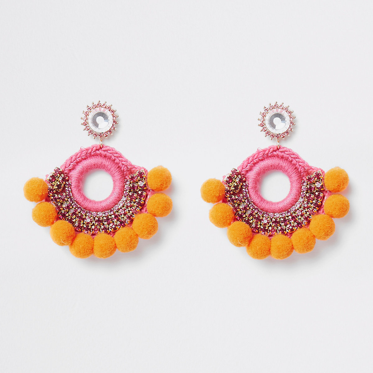 Orange pom pom gold tone stud earrings