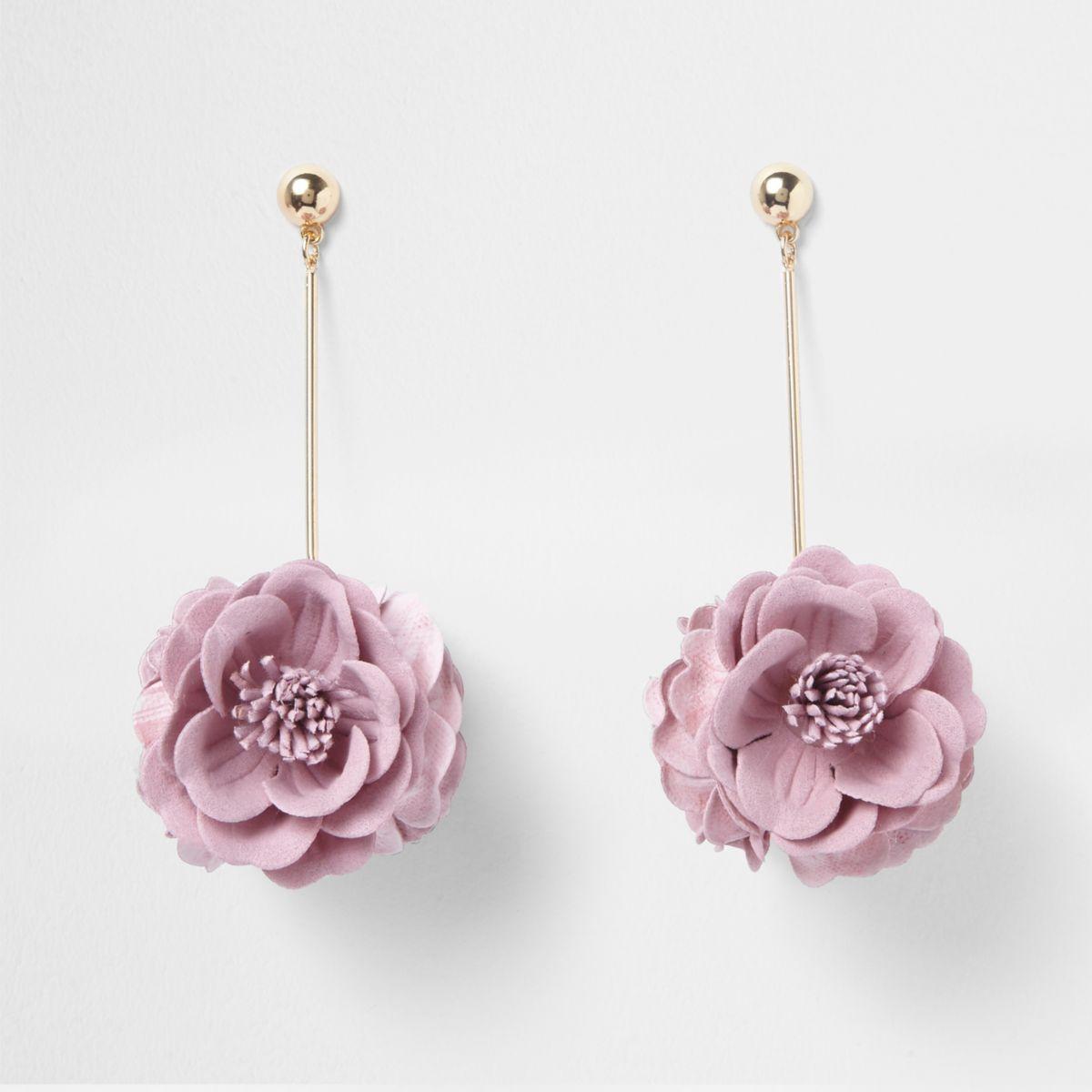 Light pink 3D flower drop earrings