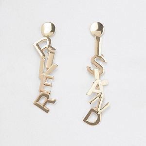 Gold tone RI branded drop earrings