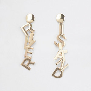 Gold tone RI branded drop earrings