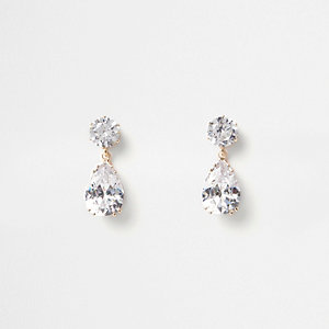 Gold tone jewel drop stud earrings