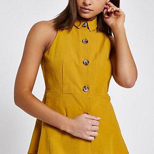 Gele mouwloze top met knopen voor