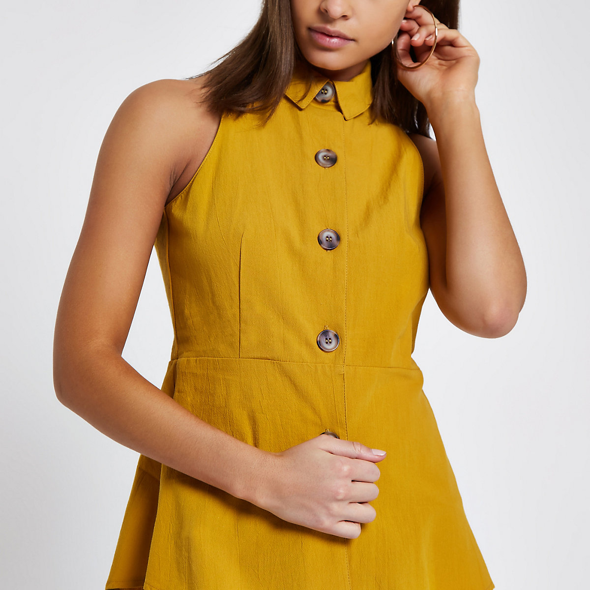 Yellow button front sleeveless top