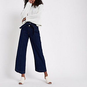 Dark blue belted wide leg jeans
