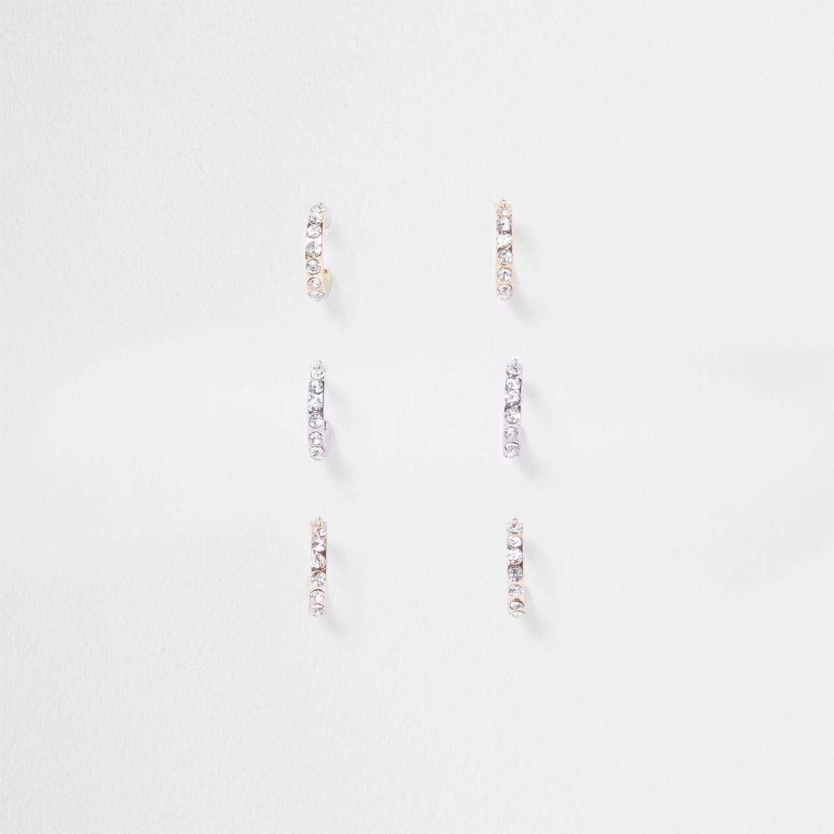 Mix tone pave hoop earrings multipack